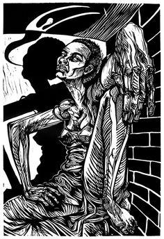 """Spiritual Warrior"" by Steve Prince   Linoleum Cut"