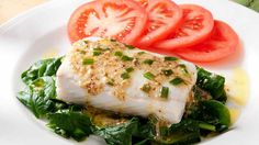 Steamed Halibut on Wilted Spinach with Chive Mustard Vinaigrette | Thrifty Foods Recipes