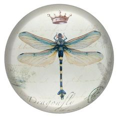 Vintage Drawing Crowned Dragonfly Glass Paperweight