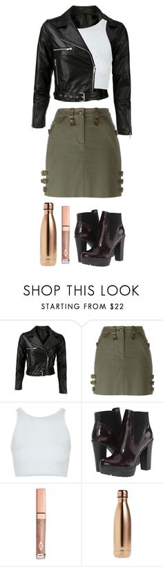 """edgy chic?"" by maya-joy-hart ❤ liked on Polyvore featuring VIPARO, Christian Dior, Topshop, Steve Madden, Charlotte Tilbury and S'well"