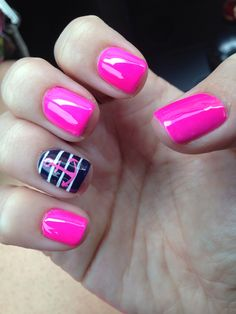 Barbie Pink and Navy Blue #short #nails #summer #nautical ⚓️