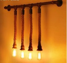 LOFT美式乡村酒吧壁灯复古工业简约餐厅客厅服装店创意麻绳壁灯