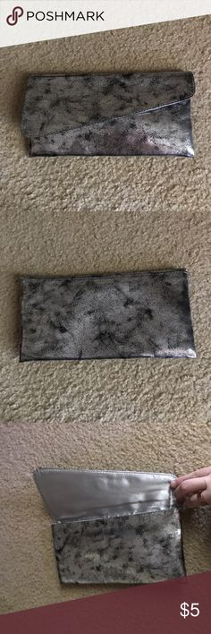 """Silver & Black Marbled Metallic Clutch This is a cute silver and black marbled metallic clutch!! Never used!! Super cute for evening looks!! Measures approximately 9""""W x 4.5""""H Bags Clutches & Wristlets"""