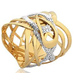 Anel Ouro Amarelo Ouro Branco e Diamante Entrelace