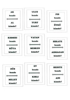 "Eş anlamlı kelimeler. ""Bende_ kimde?"" Oyun kartları. Cannur  HAZNEDAR Turkish Lessons, Education, Free Printables, Training, Learning, Onderwijs, Teaching, Free Printable"