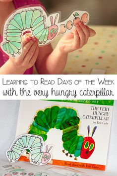 The Very Hungry Caterpillar Preschool activity to learn to read the days of the week, with your DIY munching caterpillar that works on developing fine motor skills whilst having fun learning from Rainy Day Mum Preschool Learning Activities, Hands On Activities, Fun Learning, Activities For Kids, Preschool Books, Teaching Ideas, Caterpillar Preschool, The Very Hungry Caterpillar Activities, Kids Story Books