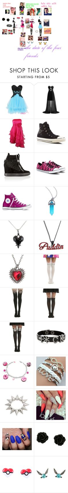 """the date of the four friends"" by dead-account-no-longer-alive ❤ liked on Polyvore featuring Haute Hippie, Converse, Giuseppe Zanotti, Hot Topic, DC Comics, Dolci Gioie, Nintendo and Radcliffe"