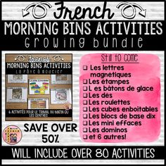 This bundle will include a total of 80 MORNING BINS/ACTIVITIES/CENTERS in French. Each set of activities will focus on one material or manipulative. Each set will include at least 5 activities. These can be used as morning bin activities, centers, task cards, for early finishers, or whatever creative way you can come up with! French Teaching Resources, Teaching French, Activity Centers, Math Centers, Language Study, Foreign Language, French Language, Core French, Vocabulary Cards