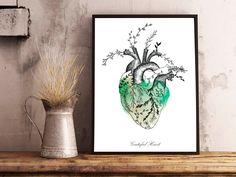 Floral HEART watercolor,anatomy,flowers,beige and green,grateful heart quote,original decor,wall art print,illustration,gifts,lovely poster.Corazon,flores,anatomia humana,decoracion original,acuarela,corazon real,ilustracion by MARAQUELA