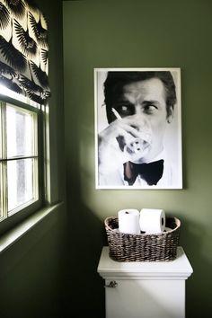 Love quirky art in the bathroom. Thyme Green Walls, Roger Moore Art, Tonic Living Roman Shade - shade fabric for guest powder room Dark Green Bathrooms, White Bathroom, Bathroom Green, Bathroom Colors, White Shower, Quirky Decor, Quirky Art, Pale Dogwood, Art Deco Bathroom