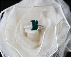 AAA Emerald Cut Emerald Ring Solid 14K White Gold by JulianStudio