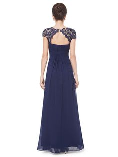 Ever Pretty Womens Lacey Empire Waist Floor Length Prom Dress 6 US Navy Blue