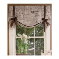Country Curtains Parisian Note Lined Tie - Up Valance - 26 W ($90) ❤ liked on Polyvore featuring home, home decor, window treatments, curtains, blue, paris home decor, lining curtains, country window treatments, farmhouse home decor and country style home decor