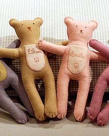 These little hand-stitched felt bears have an important duty: safely guarding teeth awaiting pickup by the Tooth Fairy.