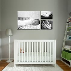 love the black and white photos above crib
