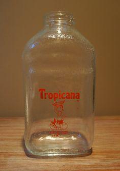 Glass Tropicana Orange Juice Bottle
