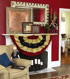 Stars-and-Stripes Style - Bowled Over * Strike up some conversation in your living room with a few spare bowling pins displayed on a small shelf. * Square off your decor with framed art layered on the mantel in front of a unique rectangular mirror. * Tea-stain cloth bunting to give it more timeworn appeal and power up your room's primitive patriotic pizzazz. This room was featured in the July 2005 issue of Country Sampler Magazine. - Country Sampler