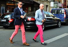 blazer + pink pant + driving loafers