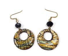 Black & Gold Ethnic Hoop Earrings-Resin Earrings by BeadazzleMe