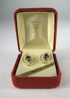 NEW Amanda Smith Pierced Earrings Austrian Crystal Rhinestone Green Gold Tone #AmandaSmith #Stud