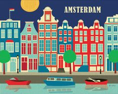 Amsterdam, Holland - Dutch Poster and Wall Art Gift  for Home, Office, and Childrens Rooms - style E8-O-AMS by loosepetals on Etsy