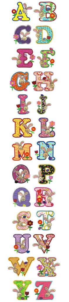 Here is a sweet alphabet for your Easter projects! Two sizes included Exclusive artwork and alphabet for Designs by JuJu by Robert Dowd This font also includes BX format to be used with Embrilliance software as a keyboard font. Applique Patterns, Applique Designs, Embroidery Applique, Machine Embroidery Designs, Embroidery Alphabet, Alphabet And Numbers, Clipart, Stencil, Needlework