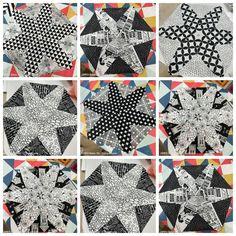 Hex star pattern in progress. Mini Quilts, Star Patterns, Stars, Sterne, Star