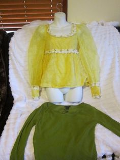 Womens Express 3/4 Peasant Semi Sheer Top & Vintage Yellow Lace Daisy Baby Doll #Express #Peasanttops #Casual