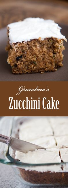 BEST Zucchini Cake! This is my grandmother's recipe for a gently spicy sheet cake, made with freshly grated zucchini. So good! On SimplyRecipes.com