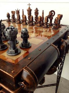 Stunning Steampunk Chess Set by Philippines Artist Ram Mallari Jr (link in comment) Design Steampunk, Arte Steampunk, Steampunk Fashion, Steampunk Coffee, Welding Art, Welding Projects, Wood Projects, Steampunk Gadgets, Chess Pieces