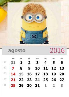 calendário 2016 dos minions mês de agosto