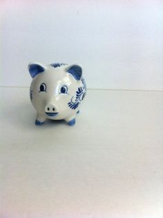 Vintage Ceramic Piggy Bank White With Blue Hand Painted Decoration Made In Korea by Pesserae on Etsy