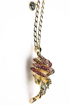 disney couture jewelry | ... Beast Rose Necklace w/ Cystals | Disney Couture Jewelry | 80's Purple