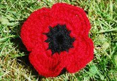 a crochet poppy on grasshttp://emmaleith.co.uk/remembrance-poppy-crochet-project