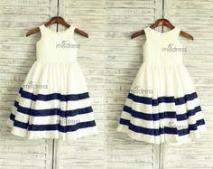Ivory/Navy Blue Stripe Taffeta Flower Girl Dress Wedding Easter Junior Bridesmaid Baptism Baby Infant Children Toddler Kids Dress