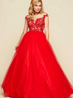 2016 Prom Dress Red Organza Prom Dress Evening Dress mual BALL GOWNS STYLE 65360H