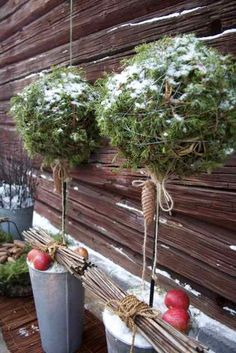 """Several good ideas for decorating the winter garden. Making a big ball with evergreen (moss, leaves, pine, anything) and turning into a """"tree"""" is really clever."""