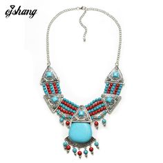 2016 New Hot Fashion Bohemain Turquoise Jewelry Beads Necklace Ethnic Boho Statement Maxi Choker Vintage Ncklace Collier Femme