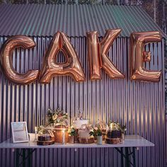 gold cake balloon letters - Google Search