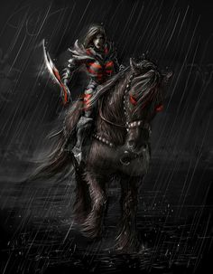 This is my fan art for the game Skyrim. Woman-Nord, who is a vampire, riding Shadowmere.