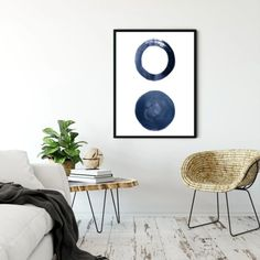 Set of 3 minimalistic oil painting with navy blue nordic symbols. Simple white background and the ability to match 2-3 variations next to each other creates a clean stylish look to your home. Ideal for your bedroom, living room, or study. Indigo Walls, Blue Walls, Nordic Symbols, Simple Living Room Decor, Living Room Background, Cheap Paintings, Living Room Paint, Blue Abstract, Picture Wall