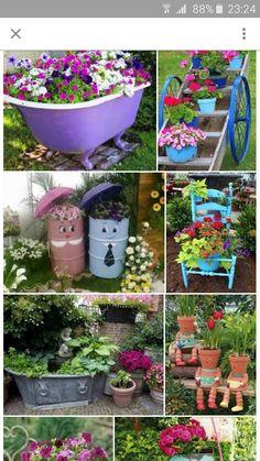 stunning spring garden ideas for front yard and backy Diy Garden Bed, Garden Junk, Diy Garden Decor, Garden Crafts, Garden Projects, Garden Art, Garden Design, Outdoor Flower Planters, Outdoor Flowers