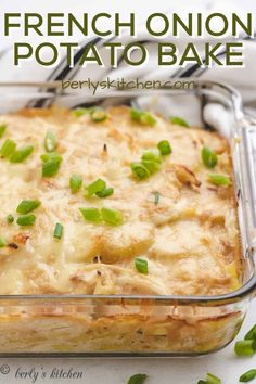 A simple French onion potato bake that uses Yukon potatoes, French onion soup mix, and Gruyere cheese to create a cheesy, creamy casserole! #berlyskitchen