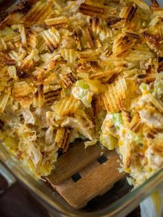 INGREDIENTS     3 cups cooked chicken, shredded or chopped   1 cup sharp cheddar cheese, grated   1 cup potato chips, slightly crushed   1 1/4 cups mayonnaise   1 cup celery, finely chopped   1/4 cup bacon, cooked and crumbled