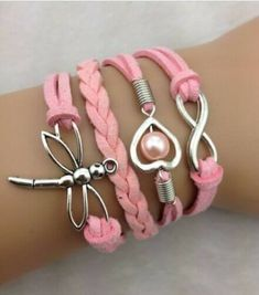 NEW Heart Infinity Dragonfly Pearl Leather Charm Bracelet plated Silver Leather Charm Bracelets, Infinity Heart, New Heart, Wedding Bracelet, Pearl Bracelet, Pink Leather, Antique Silver, Heart Shapes, Jewelry Watches