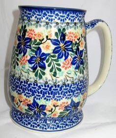 POLISH POTTERY UNIKAT 28OZ. FLOWER BEER TEA COFFEE MUG STEIN HAND PAINTED RARE