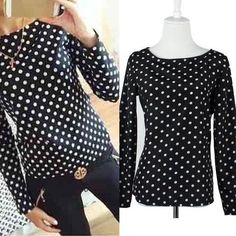 Women Chiffon Blouse Polka Dots Print Long Sleeve Lapel Shirts #longsleeveShirt #womentops