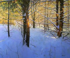 Landscape Paintings, Watercolor Paintings, Landscapes, Winter Trees, Winter Landscape, Pastel, Snow, American, Artists
