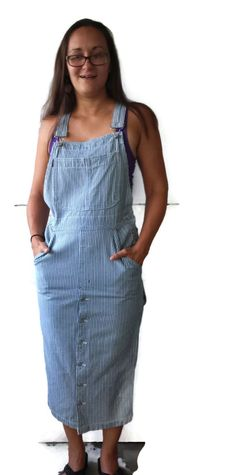 Bib Overall Dress Railroad Stripes Denim Jeans Jumper Size S Carpenter Style by EclecticVintager on Etsy