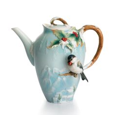 Winter chickadee teapot